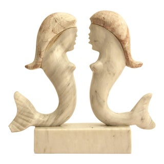 Surrealist Carved Marble Mermaid Sculpture