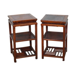 Antique Chinese Elm Wood 3 Tier Square Side Tables - Pair