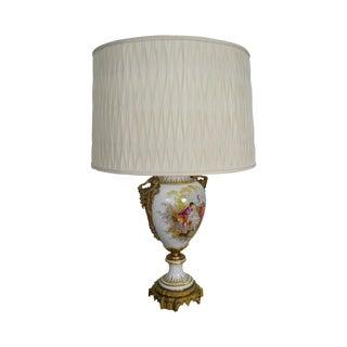 Sevres Porcelain & Bronze Large Urn Mounted as Lamp