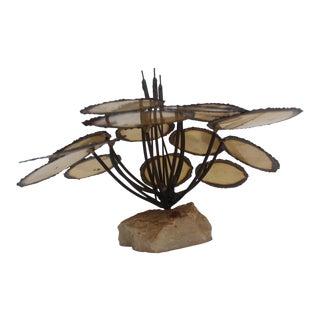 Vintage Brutalist Cattail & Lily Pad Sculpture