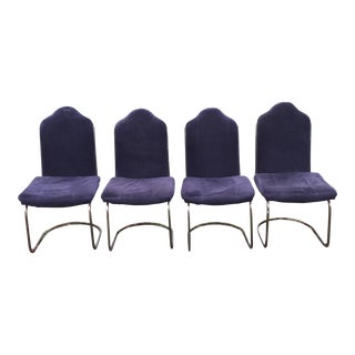Black Velvet Brass Cantilever Chairs - Set of 4