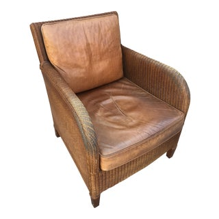 "Janus Et Cie ""Lloyd Loom"" Wicker & Leather Club Chair"