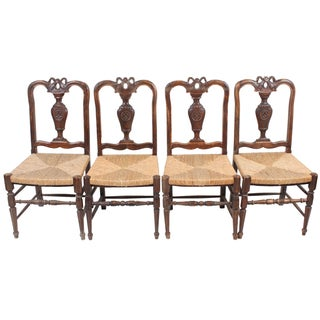 Louis XVI-Style Walnut Chairs - Set of 4