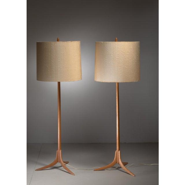 Pair of Swedish oak Floor Lamps, 1960s - Image 4 of 4