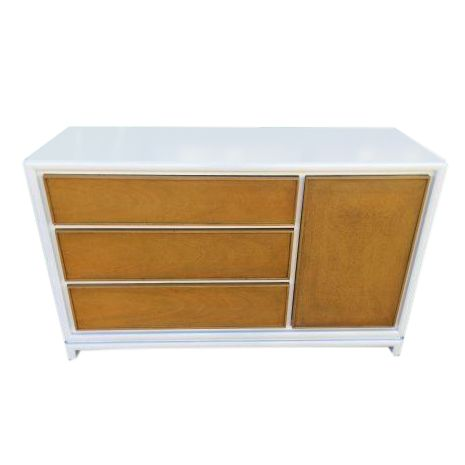 Mid-Century White & Walnut Credenza - Image 1 of 3