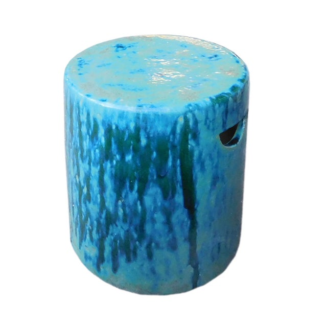 Ceramic Turquoise Green Round Garden Stool - Image 5 of 6