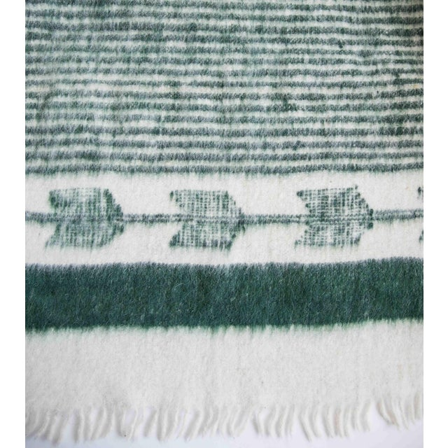 Green and White Wool Blanket - Image 2 of 6