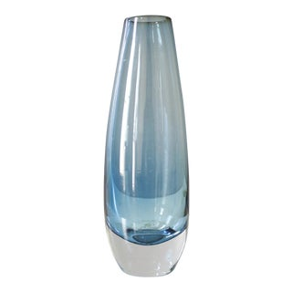 Vintage Blue Sommerso Art Glass Vase