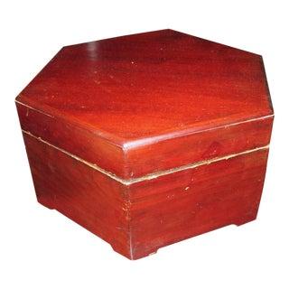 Red Wood Hexagonal Box