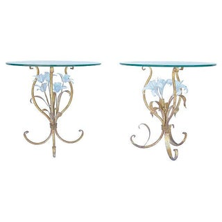 Vintage Italian Gilded Lily Tables - Pair