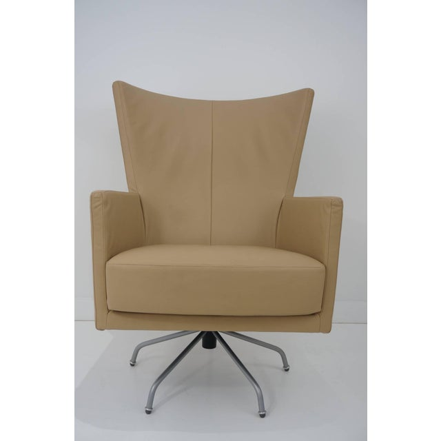 Pair of Modern, Italian, Swivel Lounge Chairs, Upholstered in Tan Color Leather - Image 9 of 9