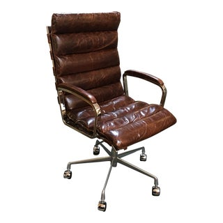 Restoration Hardware Oviedo Cocoa Leather Office Chair