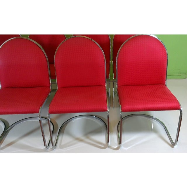 Chrome Red Upholstered Dining Chairs - Set of 8 - Image 3 of 11