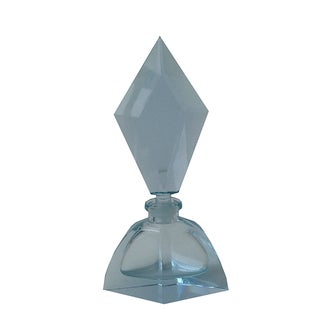 Czechoslovakian Light Blue Faceted Perfume Bottle
