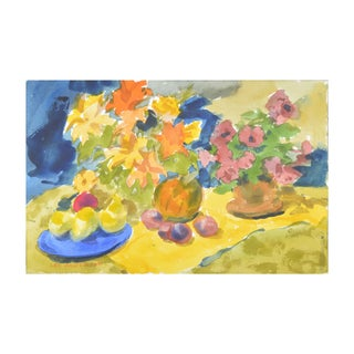 Summer Table Watercolor Painting