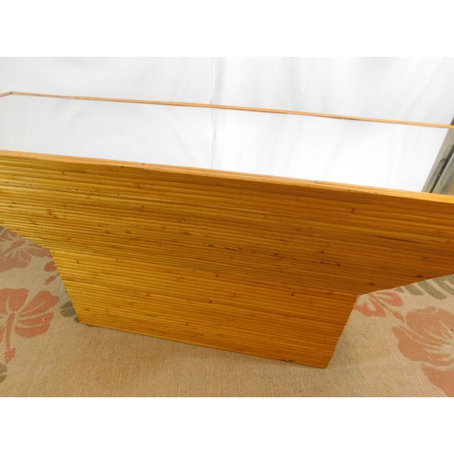 Vintage Mid-Century Split Reed Mirror Top Console Table - Image 7 of 10
