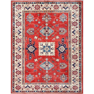 "Pasargad Kazak Red & Cream Wool Rug - 4'11"" x 6'5"""