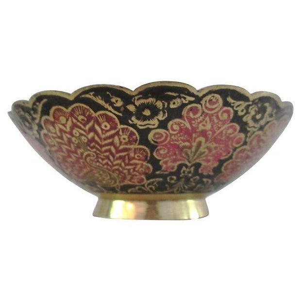 Indian Brass & Enamel Peacock Bowl - Image 4 of 8