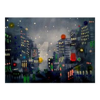 """City Lights 2"" Original Watercolor Painting"
