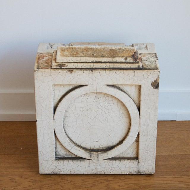 Terra Cotta Block : Antique architectural white glazed terra cotta block