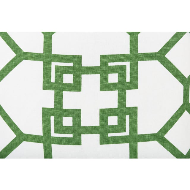 Custom Linen Emerald Lattice Imperial Pillows - A Pair - Image 3 of 4
