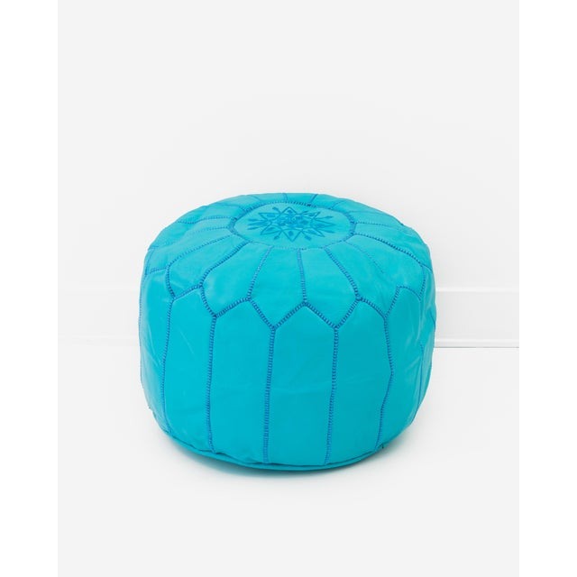 Moroccan Leather Ottoman Pouf, Turquoise - Image 3 of 3