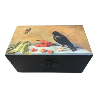 Antique Wood Box with Folk Art Painted Lid