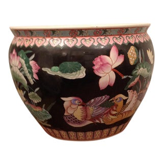Black Chinoiserie Bird Planter Fishbowl