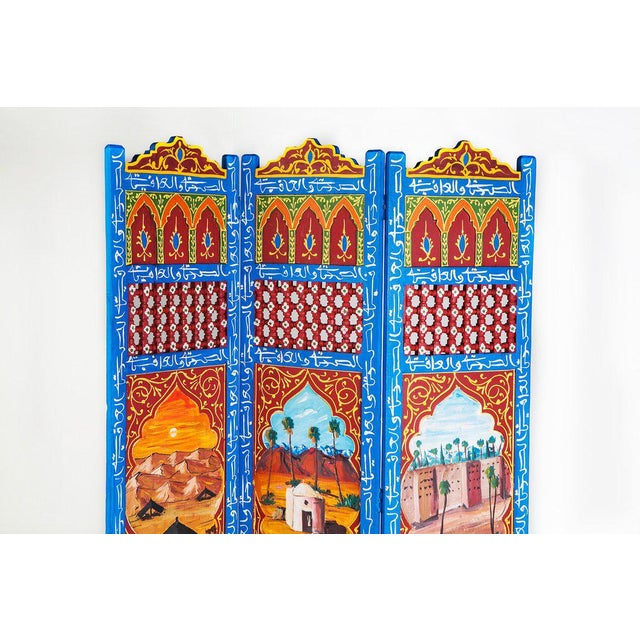 Image of Moroccan Blue 3 Panel Screen