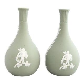 Vintage Neoclassical Wedgwood Jasper Vases - a Pair