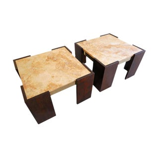 Mahogany, Marble and Brass Side Tables - Pair