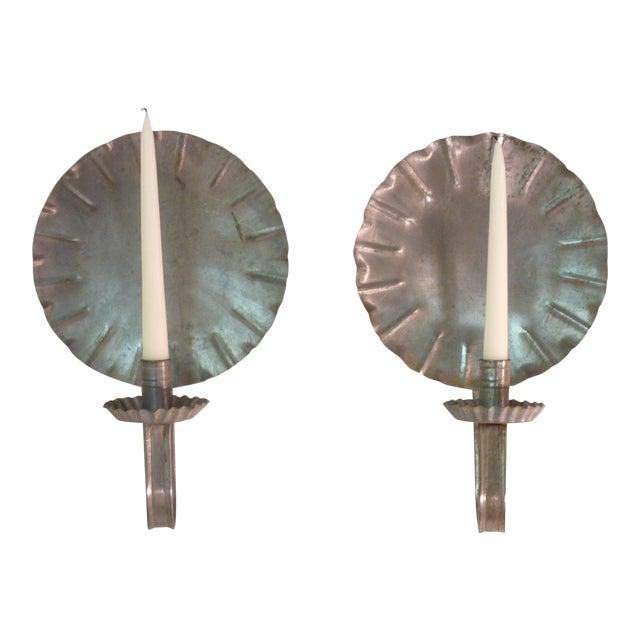 Vintage New England Tin Sconces - Pair - Image 1 of 4