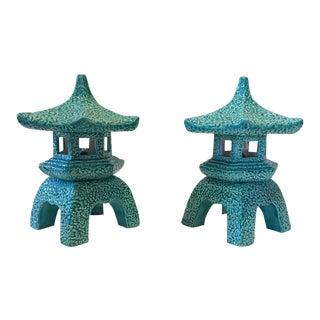 1970s Vintage Pagoda Lamps Lantern Ceramic Table Top - Pair