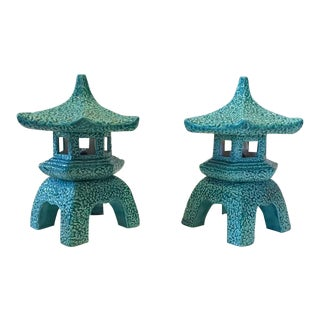 1970s Vintage Pagoda Lamps Lantern Ceramic Table Top - Pair