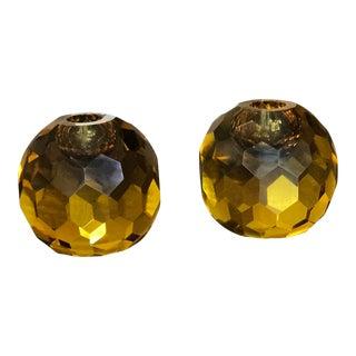 "Mid-Century Italian Murano Amber Glass ""Diamond Cut"" Candle Holders - A Pair"