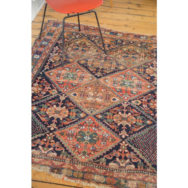 """Antique Distressed Afshar Square Rug - 4'4"""" X 5'7"""" - Image 5 of 9"""