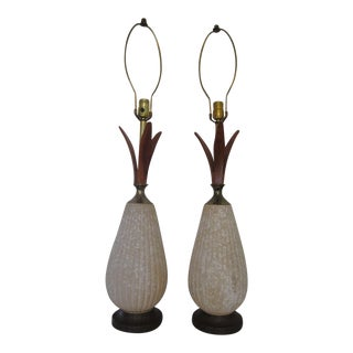 Mid-Century Ceramic & Walnut Lamps - A Pair