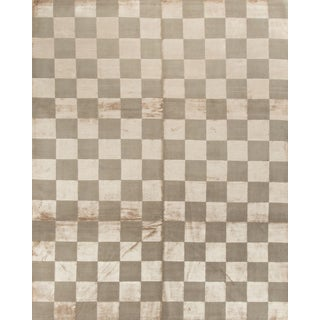 Checkerboard Hand-Knotted Wool Rug - 8' x 10'