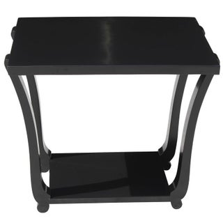 French Art Deco Black Lacquered Accent Table