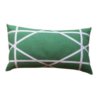 Apple Green Linen Pillow with Lattice Work Made from Ribbon
