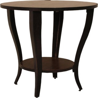 Round Accent Side End Table With Shelf Pedestal Stand Wood for Sofa Living Room