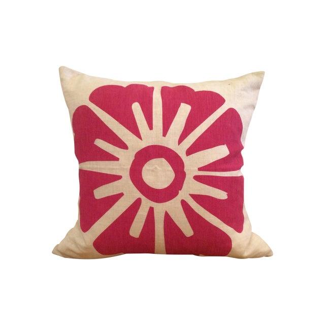 Hand-Printed Fuchsia Flower Pillow - Image 1 of 10