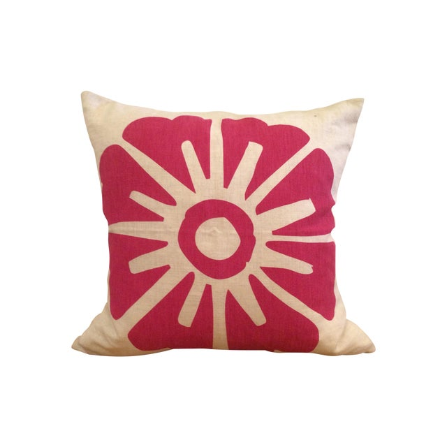 Image of Hand-Printed Fuchsia Flower Pillow