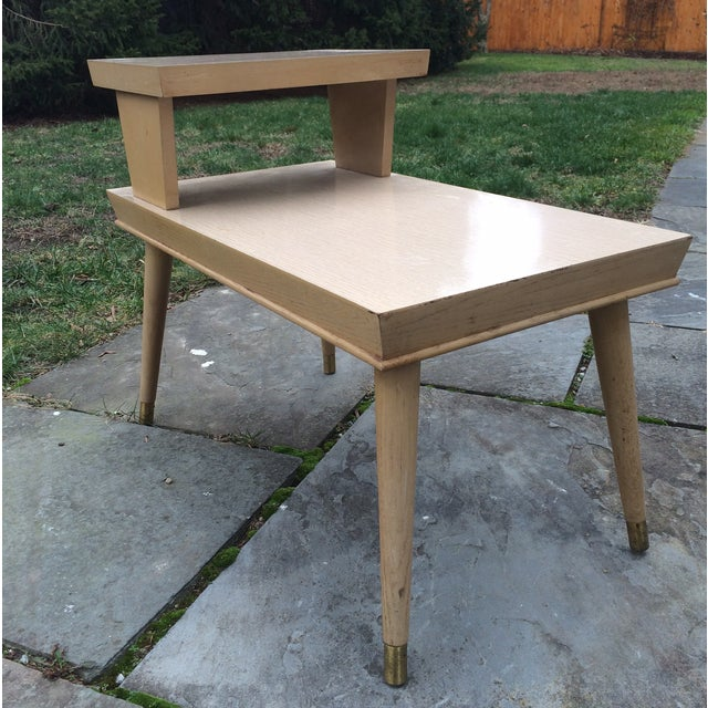 1950s Blonde Formica Two Tiered End Side Table - Image 2 of 9