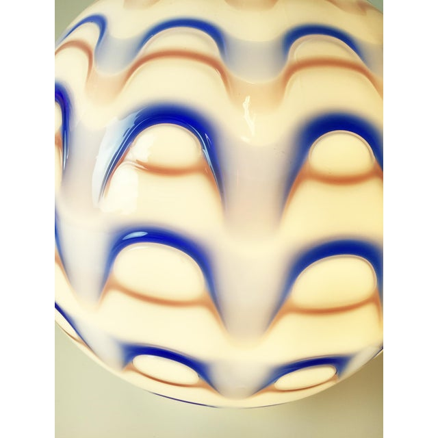 Image of Murano Red White and Blue Globe Pendant Lights 1960s