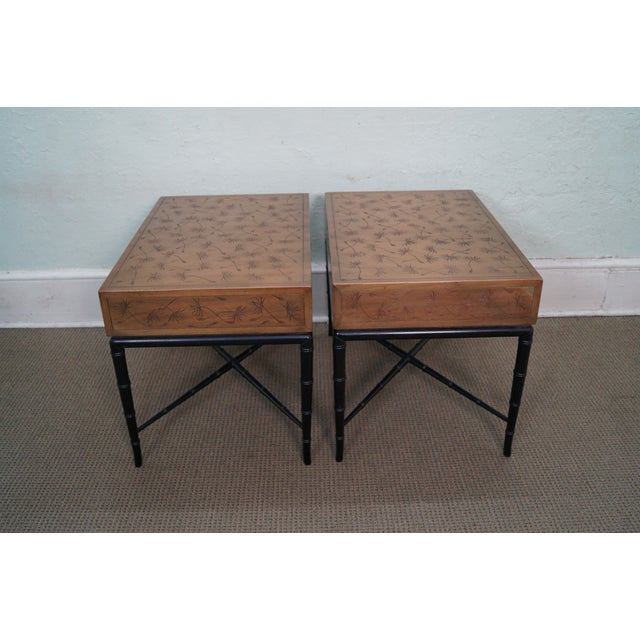 Kittinger Thistle Faux Bamboo End Tables - Pair - Image 4 of 10