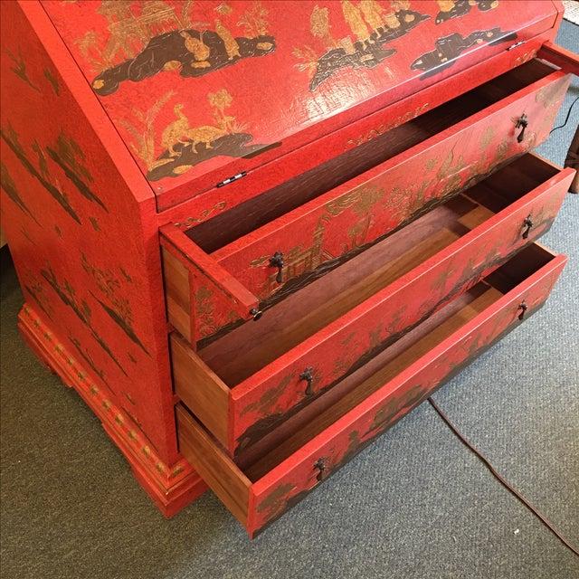 Baker Red Chinoiserie Desk - Image 8 of 11