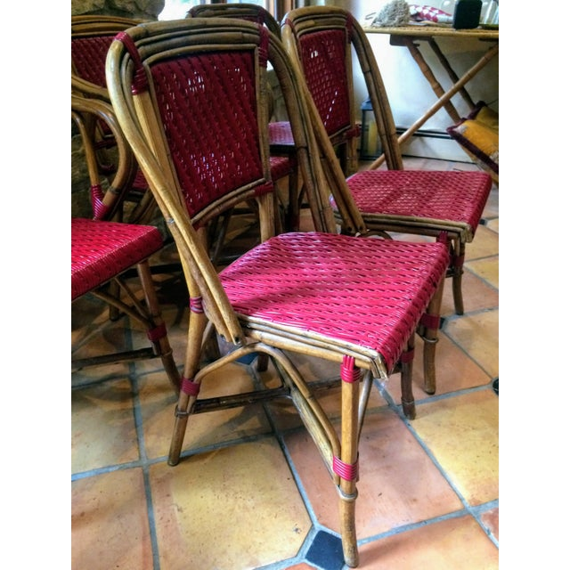Vintage Woven French Bistro Chairs - Set of 6 - Image 8 of 11