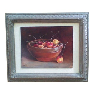 """Cherries in a Terra Cotta Dish"" Still Life"