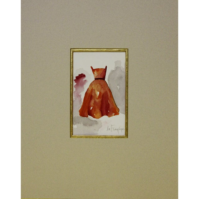 Image of Watercolor Painting of Orange Gown